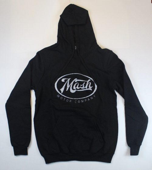 Black Hooded Sweatshirt with White Mash Motor Company Logo